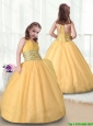 2016 Beautiful Ball Gown Halter Top New Style Little Girl Pageant Dresses es in Gold