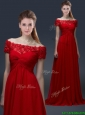 2016 Simple Off the Shoulder Short Sleeves Red Prom Dresses with Appliques