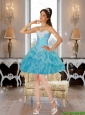 Baby Blue Pretty Sweetheart Prom Dresses with Beading