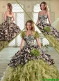 Fashionable Camo Quinceanera Dresses with Pick Ups and Ruffles for Winter