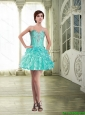 Modest Organza Short Prom Dress with Beading and Ruffles