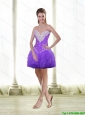 Short Beaded and Ruffles Prom Dresses in Purple for Cocktail