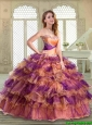 New Arrivals Floor Length Quinceanera Gowns with Beading and Ruffled Layers