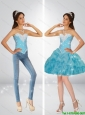 Classical Sweetheart Baby Blue Detachable Prom Dresses with Beading and Pick Ups