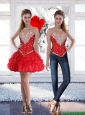 Red Short Sweetheart Pretty Detachable Prom Dresses with Beading for 2016