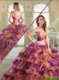 Pretty Sweetheart Sweet 16 Dresses with Beading and Ruffled Layers