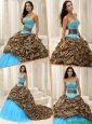 2016 Elegant Beading Sweetheart Quinceanera Dresses with Brush Train