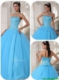 2016 Exclusive Sky Blue Ball Gown Floor Length Quinceanera Dresses