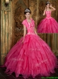 2016 Popular Appliques and Ruffles Hot Pink Quinceanera Dresses