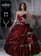 Classical Strapless Quinceanera Dresses in Burgundy