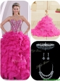 Cute Ruffles and Beading Fuchsia Quinceanera Gowns
