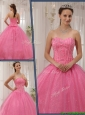 Exclusive Sweetheart Beading Pink Quinceanera Gowns for 2016