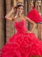 Classical Sweetheart Ruffles Quinceanera Dresses in Red