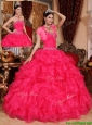 Cute Beading Coral Red Quinceanera Gowns with Sweetheart