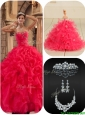 Cute Coral Red Quinceanera Dresses with Beading and Ruffles