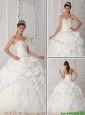 Cute White Sweetheart Quinceanera Gowns with Beading