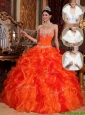 New Arrival 2016 Sweetheart Beading Sweet 15 Dresses in Orange