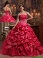 New Arrival Coral Red Ball Gown Strapless Quinceanera Dresses