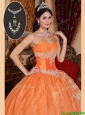 Perfect Orange Red Quinceanera Gowns with Beading and Appliques