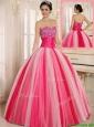 Hot Sale Multi Color Strapless Lace Up Quincanera Dresses