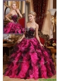 Perfect Beading and Ruffles Quinceanera Gowns in Black and Red