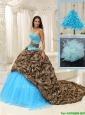 Pretty Brush Train Quinceanera Dresses in Multi Color