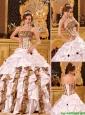 Pretty Strapless Brush Train Quinceanera Dresses in White  226.42