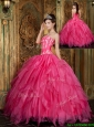 Clearance Ball Gown Floor Length Hot Pink Quinceanera Dresses