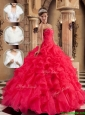 Clearance Beading and Ruffles Quinceanera Dresses  in Coral Red