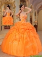 Clearance Orange Red Ball Gown Sweetheart Quinceanera Dresses