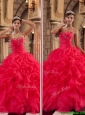 Clearance Red Sweetheart Quinceanera Dresses  with Ruffles