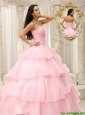 Discount Beading and Ruffles Baby Pink Quinceanera Dresses