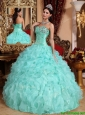 Popular Apple Green Sweetheart Beading and Ruffles Quinceanera Dresses