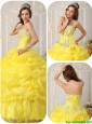 PopularBeading and Ruffles Quinceanera Dresses in Yellow