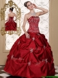 Puffy  Embroidery Wine Red Strapless Quinceanera Dresses