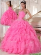 Puffy Hot Pink Ball Gown Strapless Quinceanera Dresses