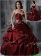 Puffy  Strapless Burgundy Quinceanera Dresses with Appliques