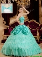 Classical Pick Ups and Ruffles Quinceanera Dresses with Strapless