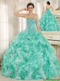 Modern Beading and Ruffles Apple Green Sweet 16 Dresses