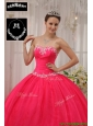 Puffy  Ball Gown Appliques Quinceanera Dresses in Coral Red