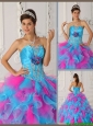 Puffy  Ball Gown Appliques Quinceanera Dresses in Multi Color