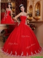 Puffy Ball Gown Strapless Quinceanera Dresses with Appliques