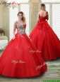 Classical One Shoulder Quinceanera Dresses with Beading in Red