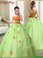 Latest Strapless Quinceanera Gowns with  Appliques and Belt