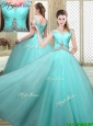 Luxurious Straps Beading Sweet 16 Dresses  in Aqua Blue