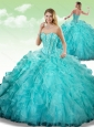 2016 Gorgeous Sweetheart Beading Turquoise Quinceanera Dresses in