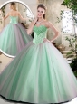 Cheap Beading Quinceanera Dresses in Apple Green