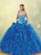 Classical Beading Sweetheart Detachable Quinceanera Dresses in Blue