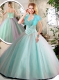2016 Elegant Aqua Blue Quinceanera Dresses with Beading