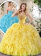 2016 Elegant Yellow Quinceanera Dresses with Beading and Ruffles